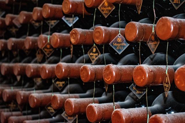 Wine bottling and sealing conveyor line